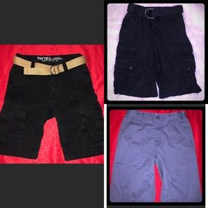 3 pairs of boys shorts & 2 belts in lot